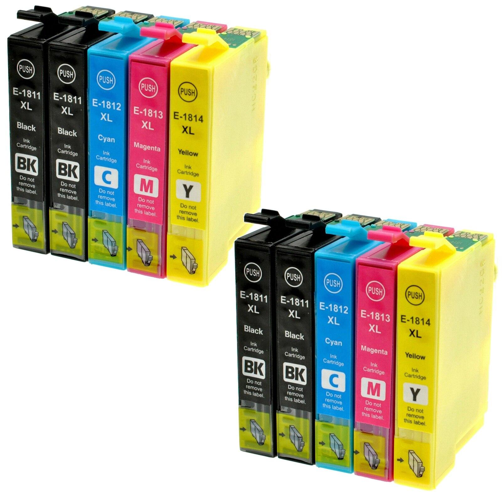 10 Cartriges T18XL T 18XL T 18 XL T1811 T1812 T1813 T1814's Refill Compatible For Printer Epson Model XP205