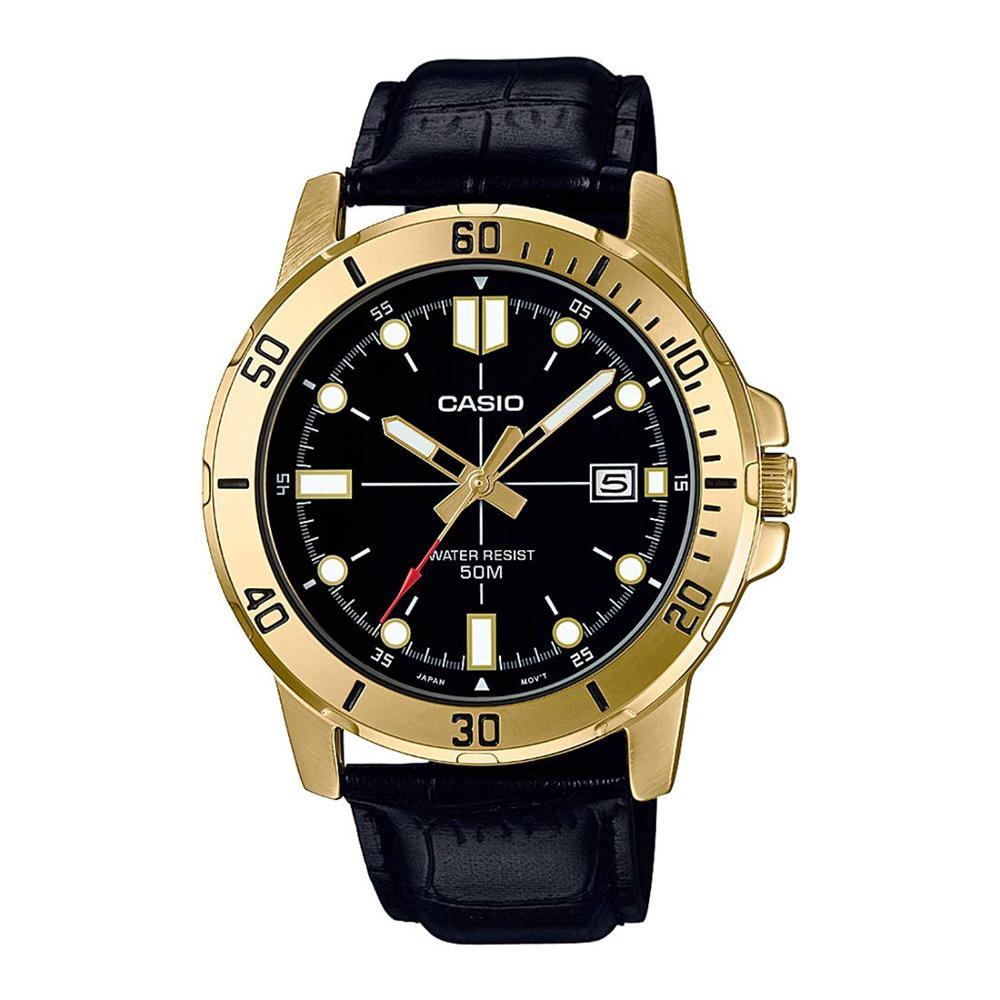 Casio Enticer Analog Black Dial Men's Watch Luxury Set 50m. Waterproof  Fasion Men Watch- MTP-VD01GL-1EVUDF