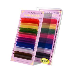 Image 5 - NAGARAKU faux cils couleur arc en ciel, naturels, Super doux, maquillage 3D, cils de Macaron