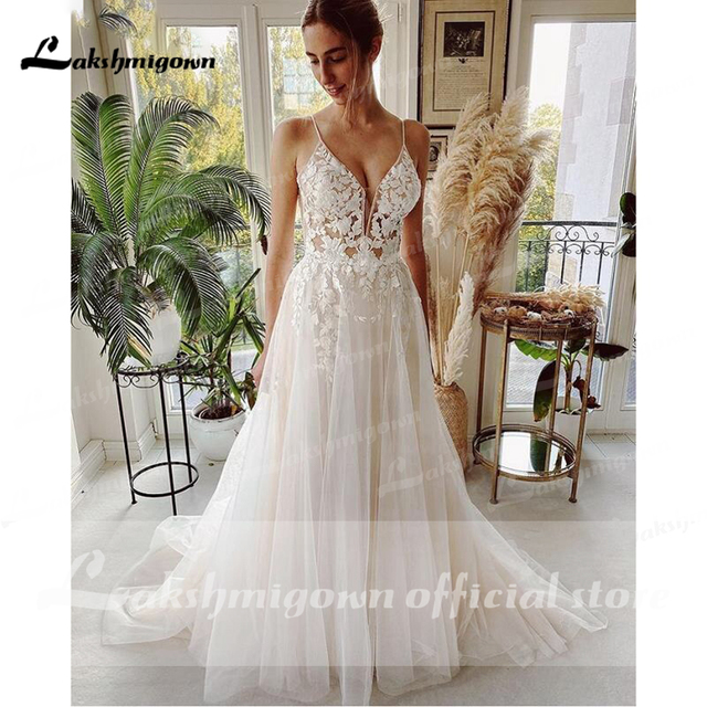 Robe Vintage Beach Wedding Dresses 2021 Tulle Long Lace Beach Bridal Gown A-Line Court Train vestido de noiva Lakshmigown 2