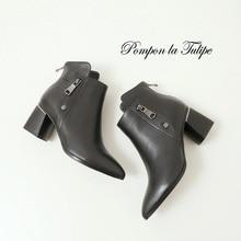 купить BHS 9011181 Chic Genuine Cow Leather 6CM Chunky Heel Stilettos Round Toe Pigskin/Plush Lining Zipper Women Fashion Ankle Boots дешево