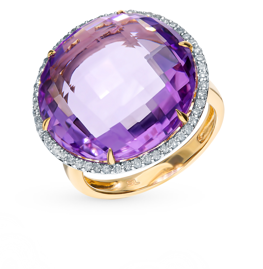 Gold Ring With Amethyst And Diamonds Sunlight Sample 585