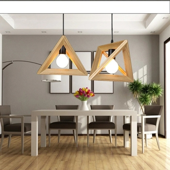 Nordic Triangle Solid Wood Restaurant Chandelier Creative Art Dining Room Lamp Bedroom Simple Cafe Bar Light Free Shipping