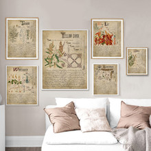 Book Of Shadows Poster Halaman Herbal Cetakan Sihir Herbal Grimoire BOS Lembar Magic Canvas Lukisan Herbarium Dekorasi(China)