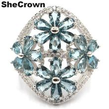 26x24mm US sz 7.5# European Style Created London Blue Topaz Natural CZ Gift For Sister Silver Rings