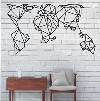 Геометрическая металлическая карта мира, металлическая настенная живопись, металлическая карта мира настенная живопись, украшение интерь...
