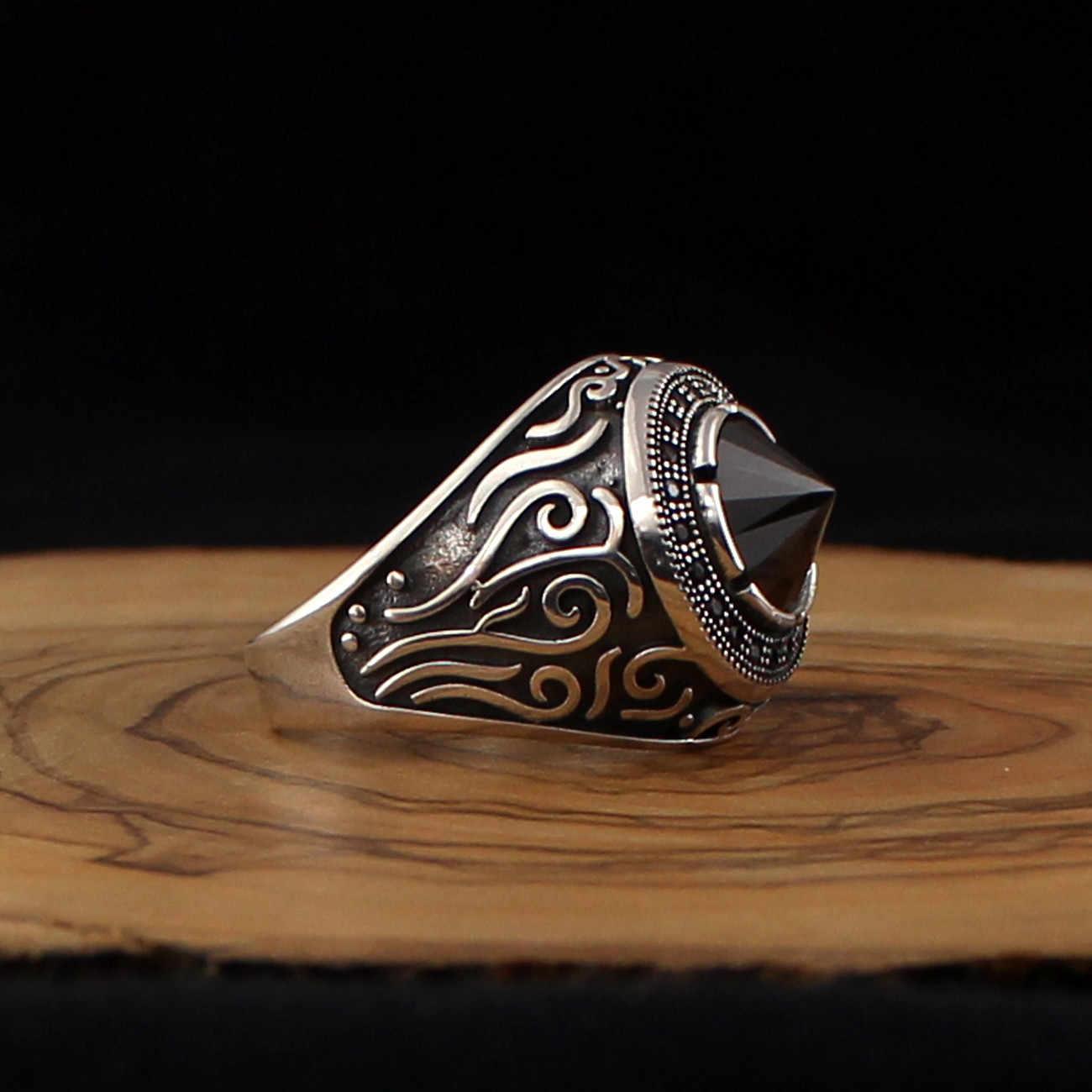 Gemstone Turquoise Stone Luxury Vintage Model 925 Sterling Silver Hardness Ring Gift For Men