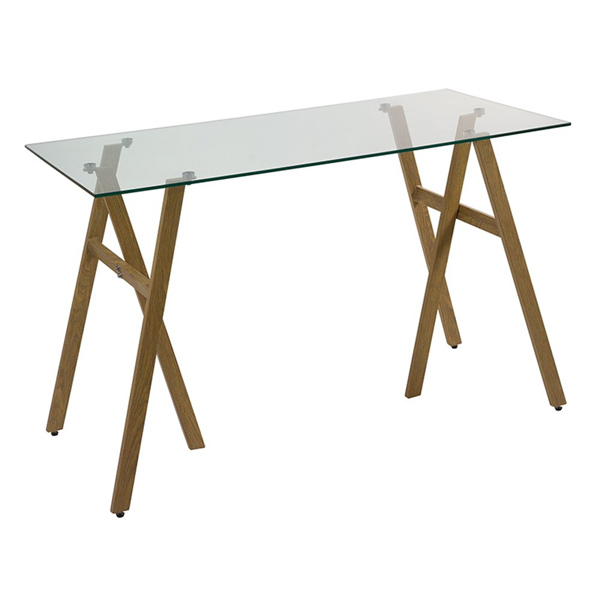 Desk (120 X 60 X 75 Cm) Tempered Glass Iron