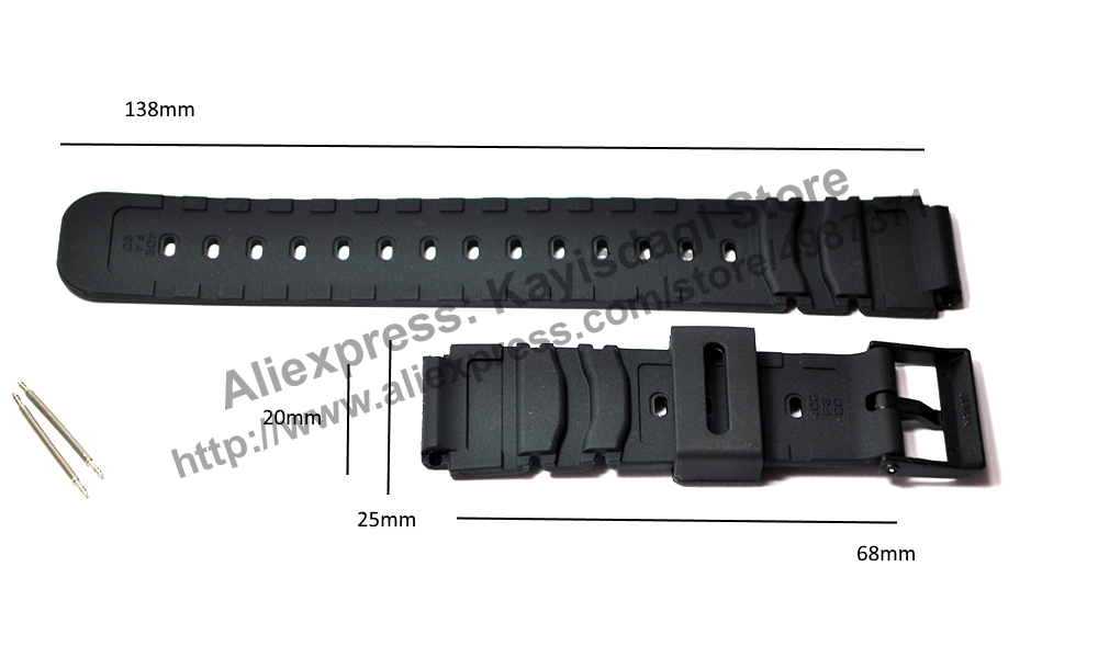 20mm Black Rubber Watch Band Strap compatible for Casio  1rLge