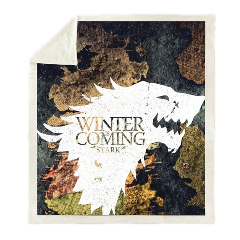 Anime Game of Thrones Season 8 Printed Plush Throw Blanket Sherpa Bedspread Home Blankets For Beds Camping Soft Square Blanket image