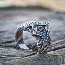 EYHIMD Men Freemason Ring Silver Stainless Steel Masonic Symbol Rings Freemasonry Knights Templar Jewelry