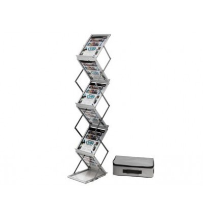 EXHIBITOR FILE 2000 FOLDING FLOOR WITH 6 SHELVES DIN SIZE A4 INCLUDES CARRYING BAG 180X267X263 MM