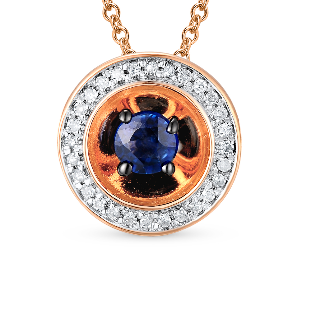 Gold Pendant With Sapphires And Diamonds SUNLIGHT Test 585