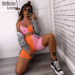Sisterlinda Women Sportswear Contrast Color Two Pieces Set Blackless Top Bra Shorts Outfits Sleeveless Elastic Activity Wear2020