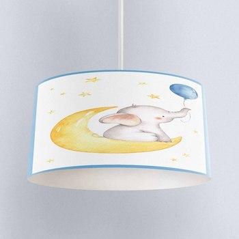 Else Yellow Moon Stars Boys Elephant Balloons Print Fabric Kids Chandelier Lamp Drum Lampshade Floor Ceiling Pendant Light Shade