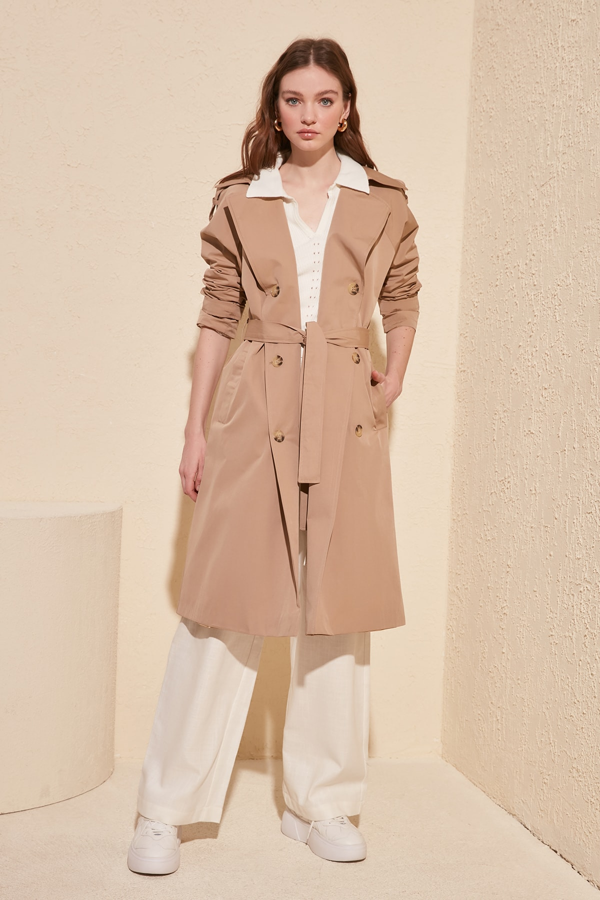 Trendyol Water Repellent Featured Button Closure Long Trench Coat TWOSS20TR0012