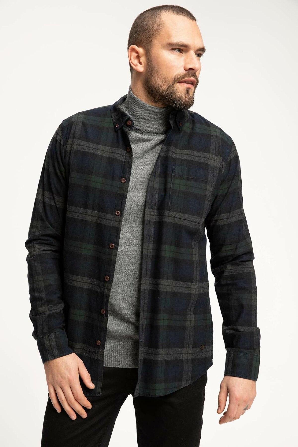 DeFacto Man Dark Color Cotton Grids Shirts Men's Top Shirts Male Long Sleeve Turn-down Collar Plaids Shirt-J1418AZ18WN