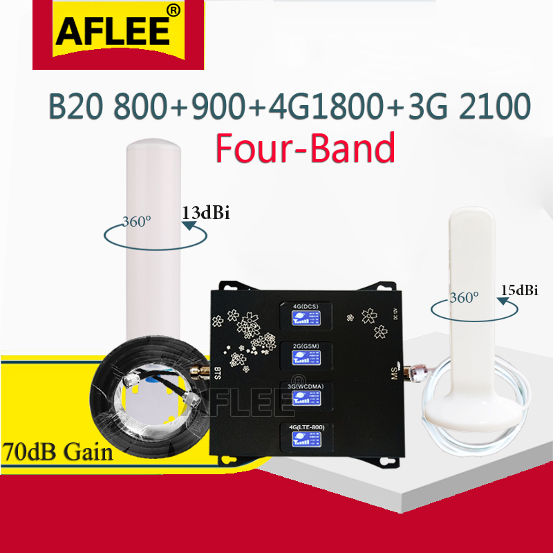 B20 800 900 1800 2100 Mhz Cell Phone Booster Four- Band Mobile Signal Amplifier 2G 3G 4G LTE Cellular Repeater GSM DCS WCDMA Set