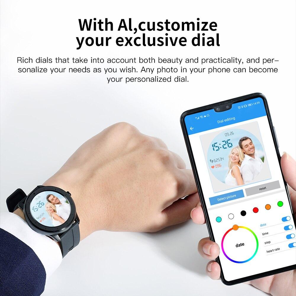 lowest price RUNDOING T6 Full touch round screen smart watch for men IP68 Waterproof  Blood pressure oxygen smartwatch for women