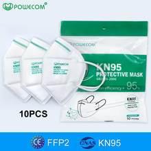 Powecom 10 pces reusável ffp2 máscara ce certificado protetor kn95 máscara protetora 95% filtragem pm2.5 anti-poeira boca muffle respirador