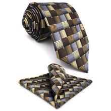 """G03 многоцветный Checkes мужской s набор галстуков модные шелковые 6"""" галстуки для мужчин вечерние носовой платок для жениха"""