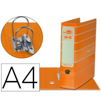 LEVER ARCH FILE LIDERPAP THE A4 FILING SYSTEM LINED WITH RADO LOMO 75MM ORANGE COMPRESSOR METAL
