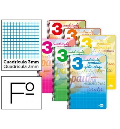 SPIRAL NOTEBOOK LEADERPAPER FOLIO PAUTAGUIA SOFTCOVER 80H 80GSM BOX SCHEDULED 3MM MARGIN ASSORTED Color 5 Units