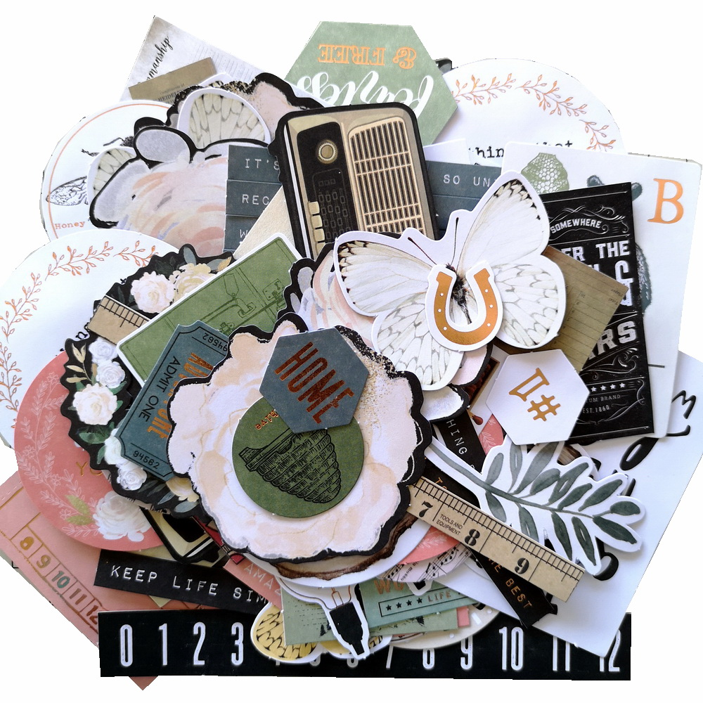 CRZCrafter 142pcs Printed Paper Diecut Shapes Ephemera Foil Designs Embellishments DIY Crafts Scrapbooking Cardmaking Journaling
