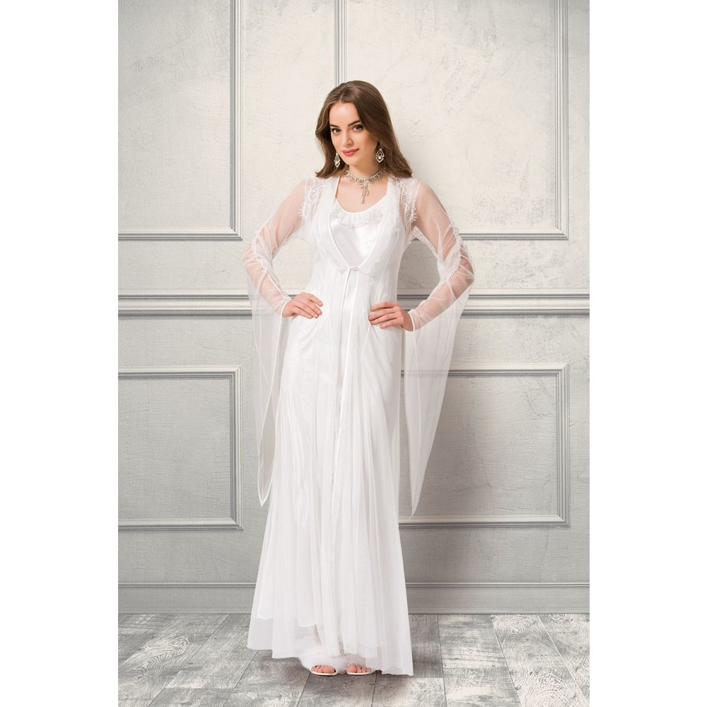 Far Drams 4960 Women's Long Tulle Dress Warm Soft Lace Rope Hanger Nightgown Dressing Gown