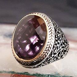 925 пробы серебро Циркон Камень Овальный мужской кольцо