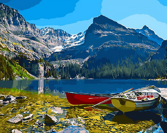 Painting By Numbers PK 33035 Boat On The Mountain Lake 40*50