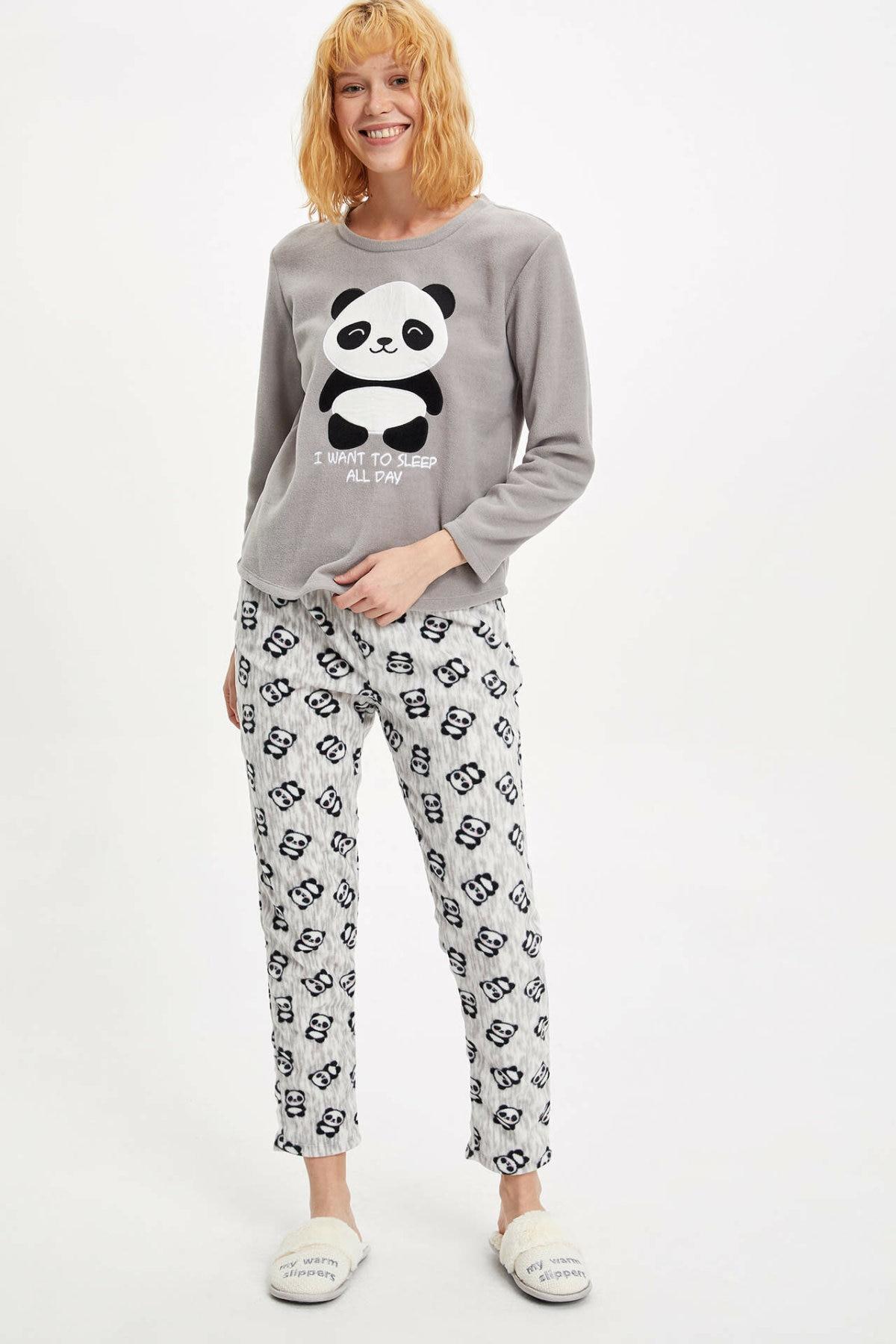DeFacto Woman Lovely Panda Homewear Set Grey Color Animal Prints Women Knitted Pajamas Sets Women Tops Bottoms-M1874AZ19WN