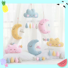 35*20cm Floating Cloud Pendant with Moon Stars Baby Crib Bed Room Play Hanging Decoration Seat Plush Toy Gifts