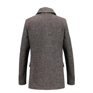 Image 4 - New Fashion Brand Mens Clothing Jacket Wool Coat Men Single Breasted Turn Down Collar Slim Fit Peacoat Long Winter Men Coat 4XL