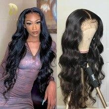 Парики из натуральных волос на фронте с волнистым кружевом для черных женщин 13x4 hd полный парик с фронтальным кружевом предварительно выщип...