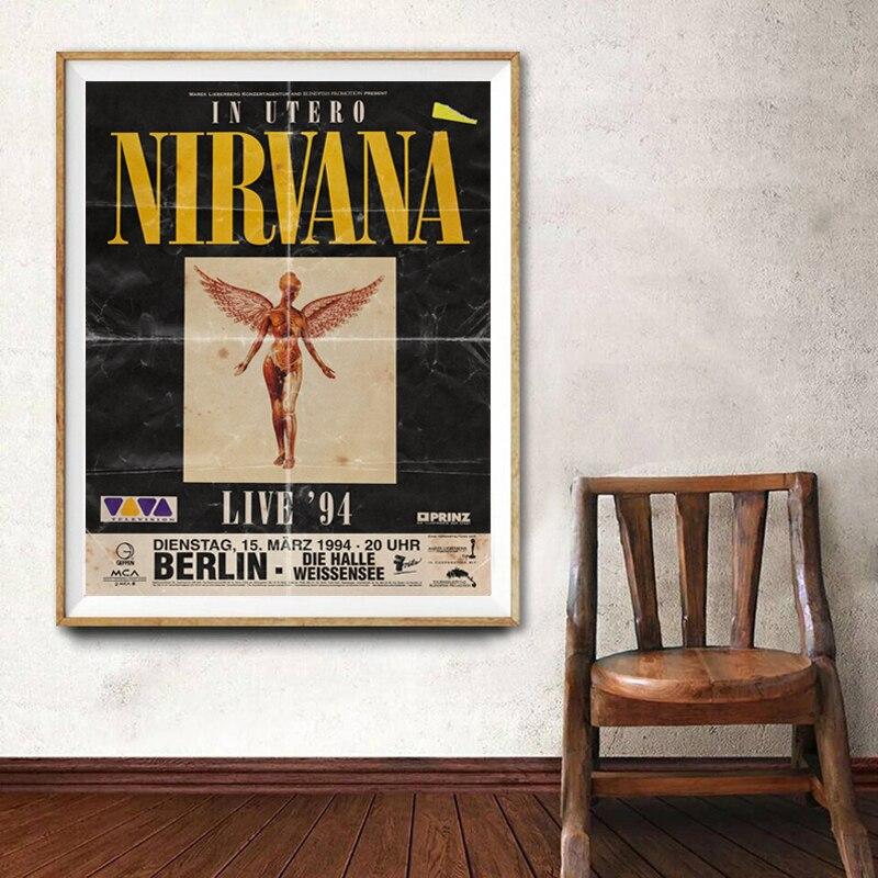 Nirvana 1994 In Utero, концертный тур, принт, постер для шоу в прямом эфире, Kurt Cobain, рок музыка, Настенная картина, холст, картина, домашний декор|Рисование и каллиграфия| | АлиЭкспресс