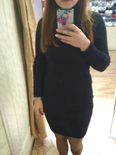 Womens Winter Knitted Sheath Turtle Neck Dresses Long Sleeve Bodycon Solid Basic Sexy Mini Dresses Vestidos photo review