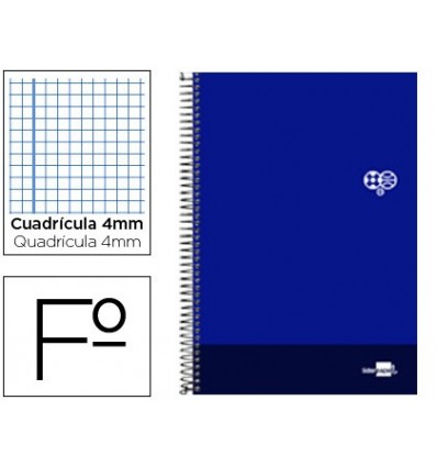 SPIRAL NOTEBOOK LEADERPAPER FOLIO DISCOVER SOFTCOVER 80H 80GSM FRAME 4MM MARGIN NAVY BLUE 5 Units