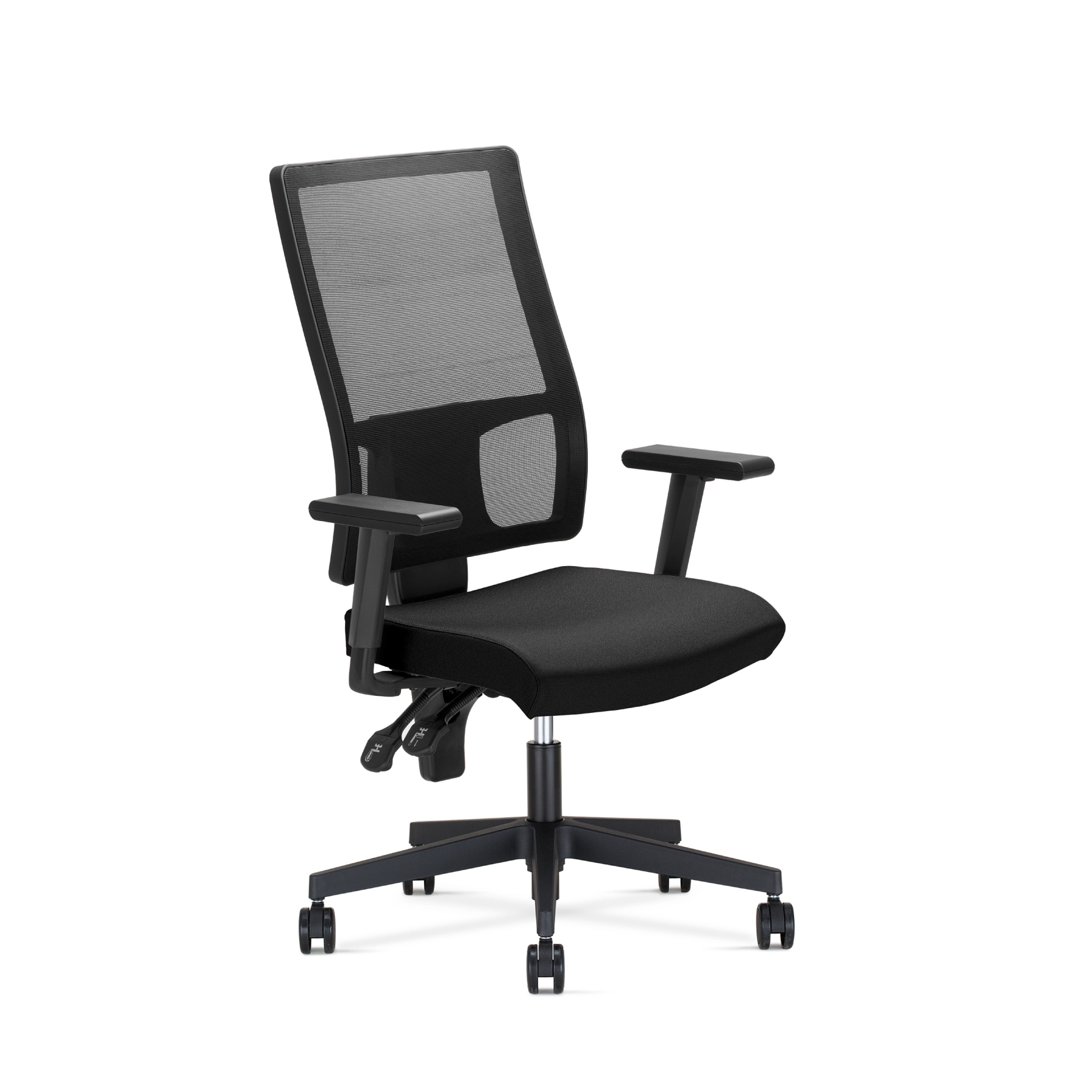 Ergonomic office chair with mechanism permanent contact  arms dimmable and lumbar reinforcement Backing mesh|  - title=