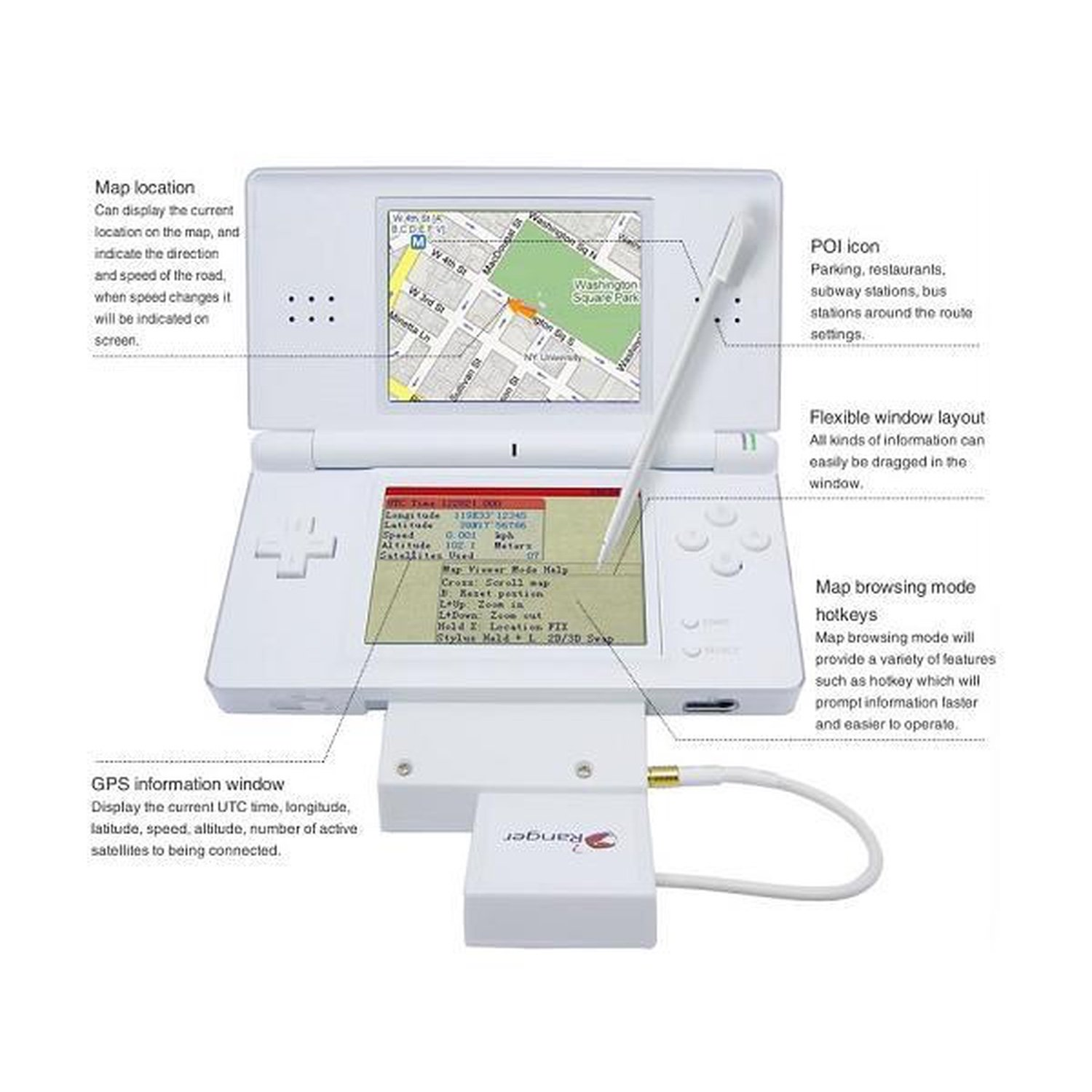 Ranger NDS GPS System NDS/NDS Lite 8 in 1 protective game card cartridge cases for ndsi nds nds lite