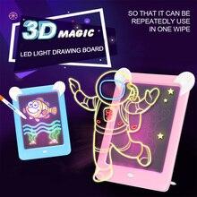 Children Gift 3D Magic Drawing Pad Led Electronic Light Writing Message Handwrit
