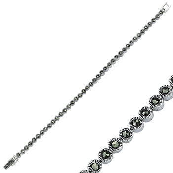 Silver 925 Sterling Marcasite Sterling Watercourse Bracelet