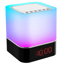 Night Lights Bluetooth Speaker, Smart Touch Night Lamp, Digital Alarm Clock, Dimmable RGB Multicolor Night Light, Gifts for Kids
