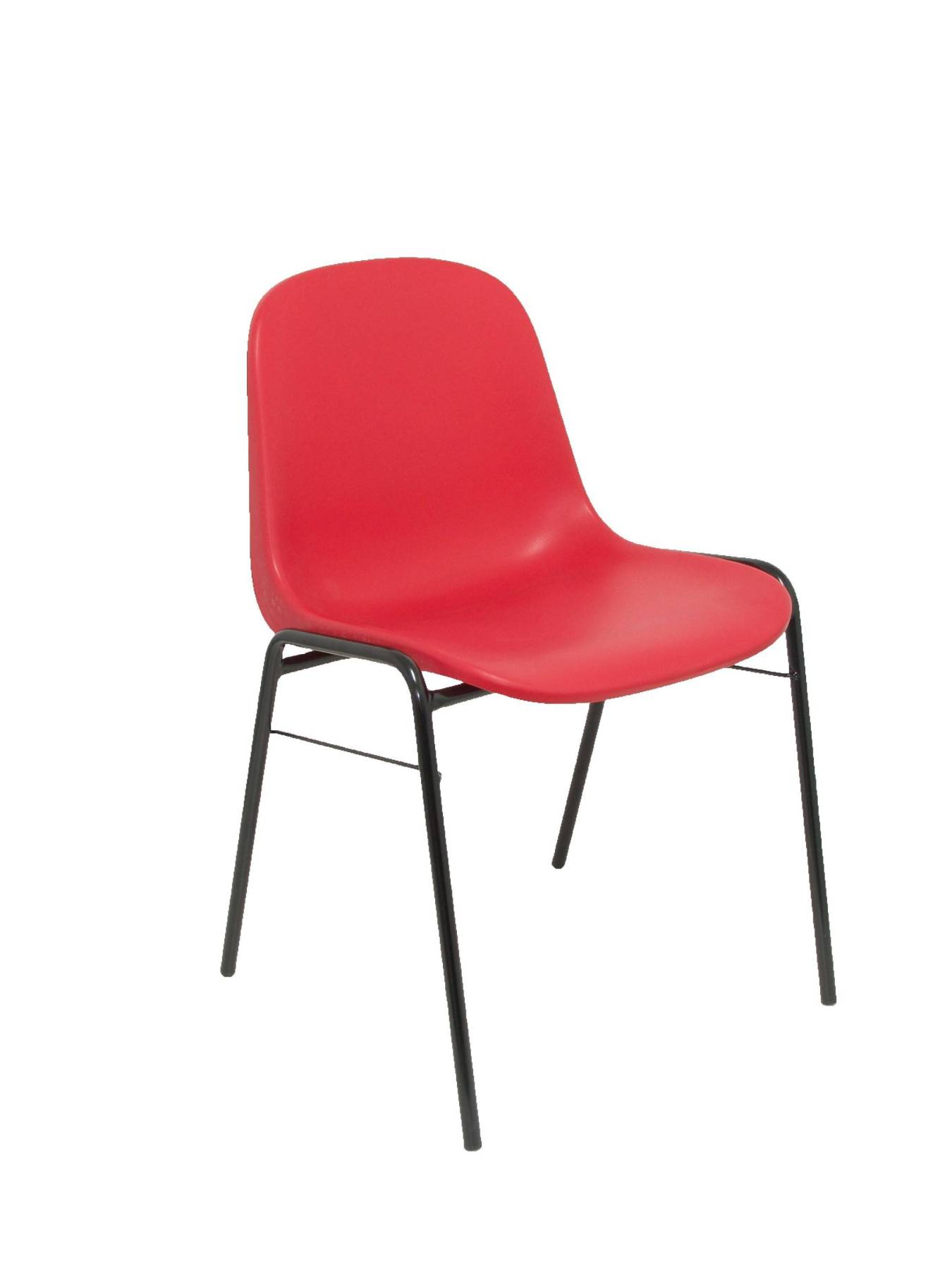 Visitor Chair Desk Ergonomic, Stackable And With Negro Up Seat And Backstop Structure PVC Red Color TAPHOLE AND CURLED