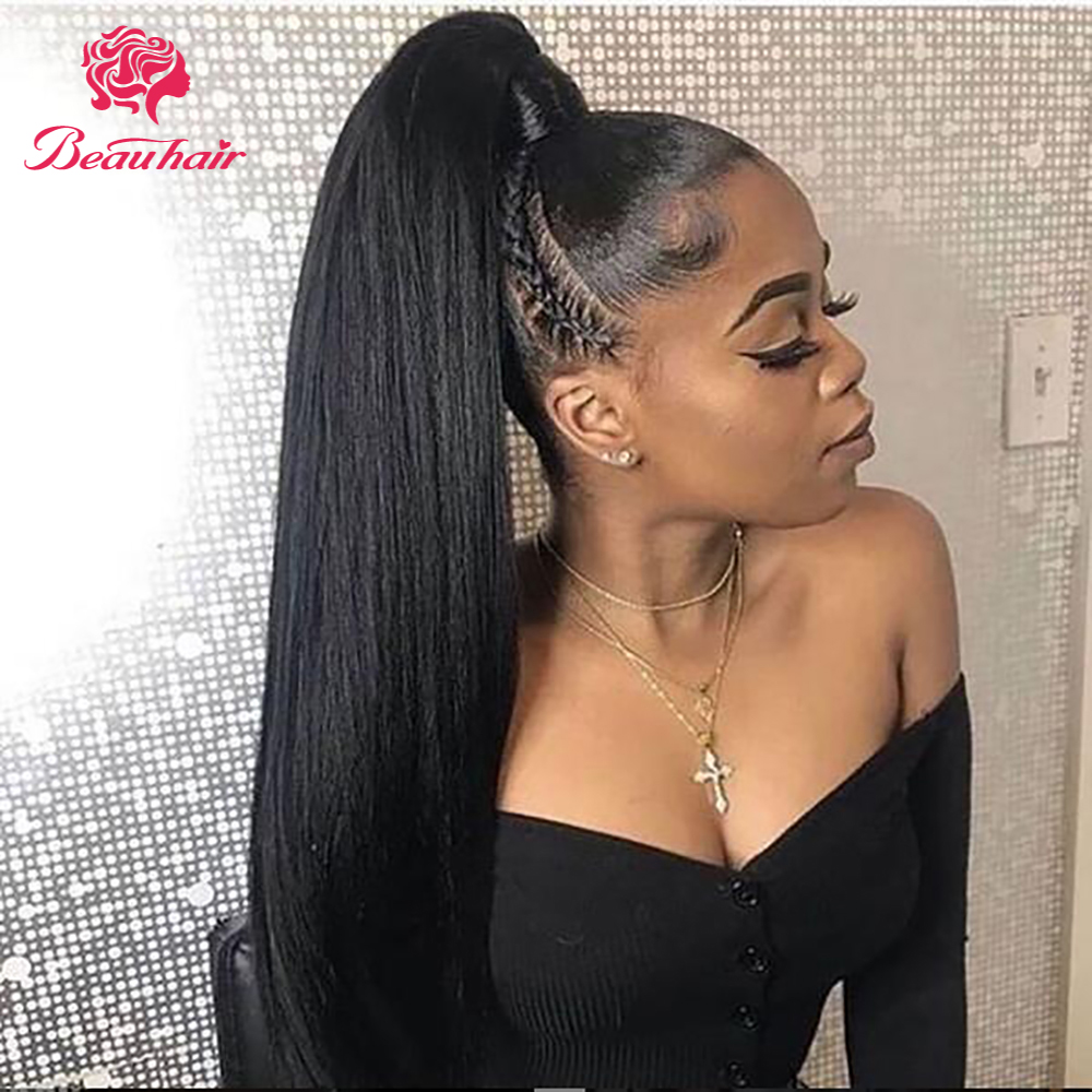 Straight Ponytail Brazilian Human Hair Ponyta100% Human Hair Weaves Bundles Natural Hair Non-Remy Hair Extension For Black Women