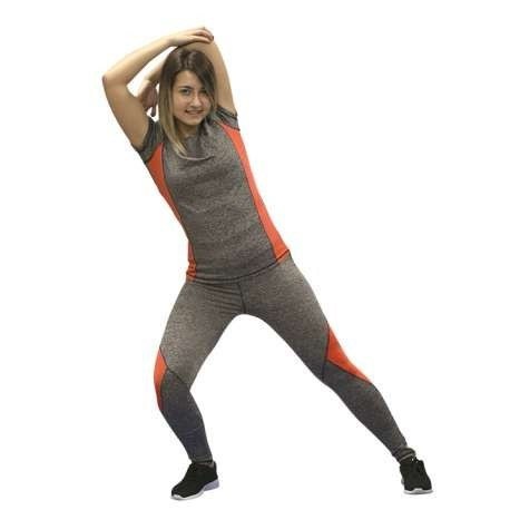 LEGGING SOFTEE FIT ALEXIA - TALLA XS - COLOR GRIS VIGORE Y CORAL