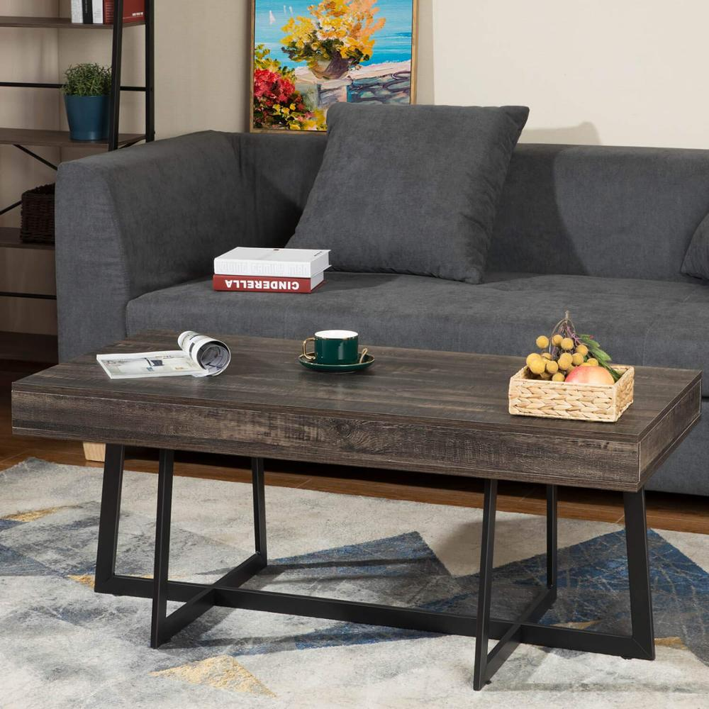 Coffee Table With Storage Drawer For Living Room Mid-Century Living Room Table Dual X Frame Solid Elegant Functional Table