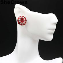 18x17mm SheCrown Beautiful Created Red Ruby White CZ Gift For Girls Silver Stud Earrings