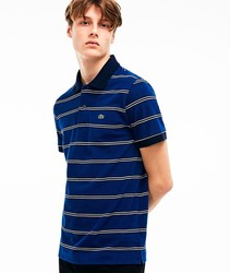 LACOSTE POLO STRIPES BLUE-WHITE-BLACK poloshirts fashion short sleeve color blue BRand Crocodile for men