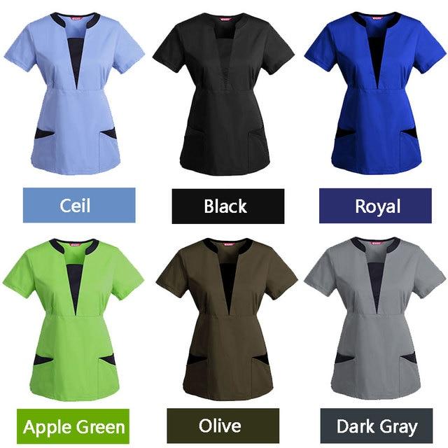 Goosuny Womens Tunic Uniform Workwear Short Sleeve V Neck Print Scrub/_Tops with Two Pockets Working Uniform Nurse/_Scrub/_Tops Stretch Printed Working Uniform Tops T-Shirt Pullover